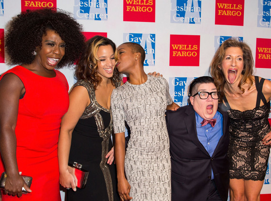 Uzo Aduba, Dascha Polanco, Samira Wiley, Lea DeLaria, and Alysia Reiner.Part of a diverse cast.