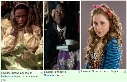 The strange, sad progression of Lavender Brown from non-speaking to speaking role.