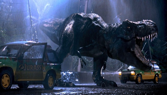 The now iconic Tyrannosaurus Rex from the film version of Jurassic Park.