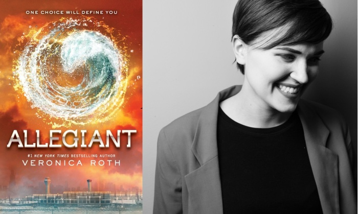 The final book in the Divergent series, Allegiant, and its creator Veronica Roth, gleefully smiling at her destruction and mayhem.