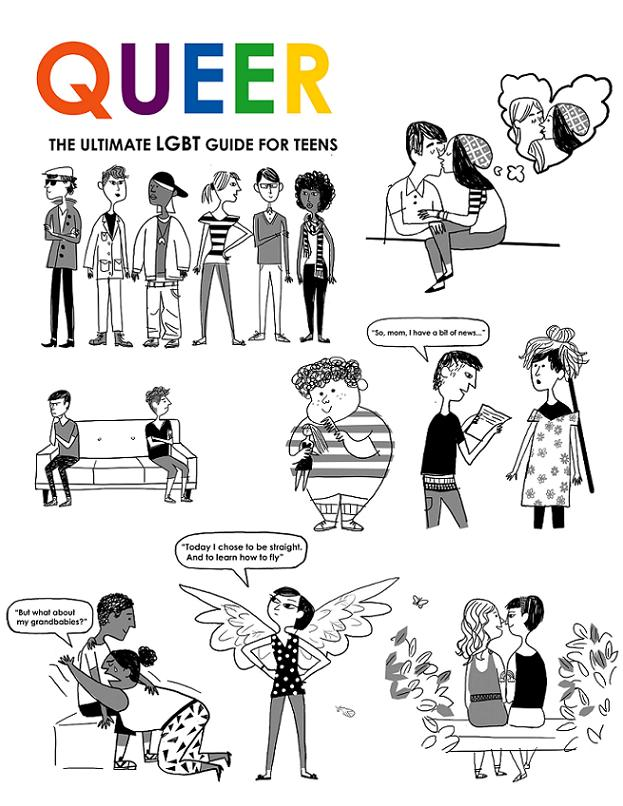 Black and white illustrations by Christian Robinson from Queer: The Ultimate LGBT Guide for Teens, © 2011 Zest Books. Source.