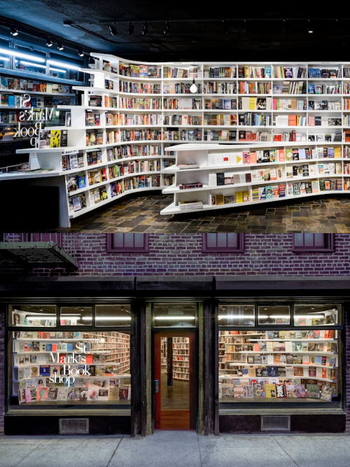 St. Mark's Bookshop in NYC is filled with innovative bookcases to stimulate visual experience while shopping.