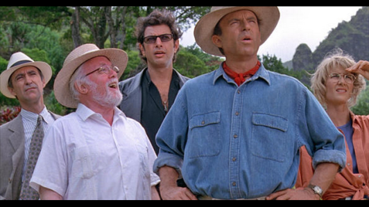 Jurassic Park main cast: (L-R) Lawyer Gennaro, Park owner Hammond, mathematician Ian Malcolm, paleontologists Dr. Grant and Dr. Sattler.