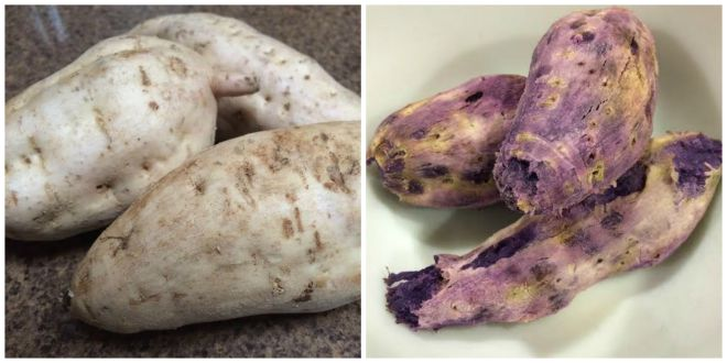 Okinawan sweet potatoes, before and after baking.
