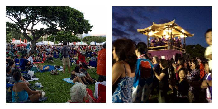 Pics by Cheri.L: Look how crowded it was!R: Bon dance at night.